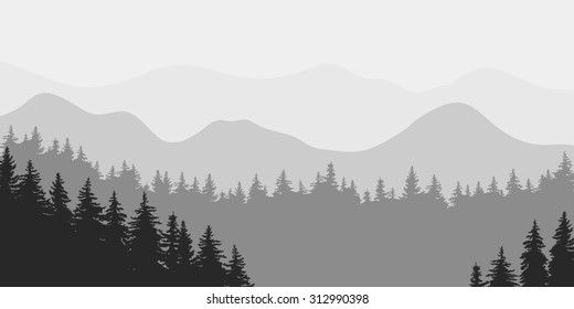 Abstract vector image of the forest receding into the distance of the pine trees on the background of gray mountains in thick fog. dense forest mountains in the background. night in a mountain forest.