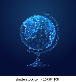 Abstract vector image of globe. Planet Earth Low poly wire frame illustration. Lines and dots. RGB Color mode. Earth concept. Polygonal art.