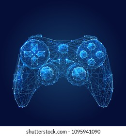 Abstract vector image of joystick for video games. Low poly wire frame illustration. Lines and dots. RGB Color mode. Computer games concept. Polygonal art.