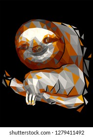 Abstract vector image in a low-poly technique shows a nice sloth sitting on a tree branch. Broken glass effect is used. Contrast creates a black background.