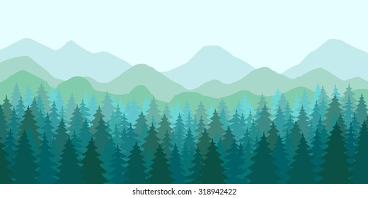 Abstract vector image of a mountain landscape, panorama of the evergreen forest, spruce. Banner. Dense blue-green forests in the foreground and mountain range in the fog in the background.
