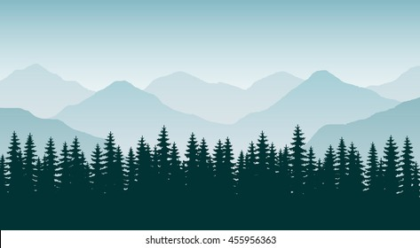 The abstract vector image. Panorama of mountain ridges with forest in the foreground. Background ridge with spruce forest in the foreground. Coniferous forest. Background. Landscape. Horizon.