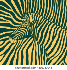 Abstract vector image of the profile of the head black and yellow zebra background zebra on a black and yellow stripes. cloth. wallpaper.