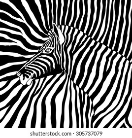Abstract vector image of the profile of the head black and white zebra background zebra on a black and white stripes. cloth. wallpaper.