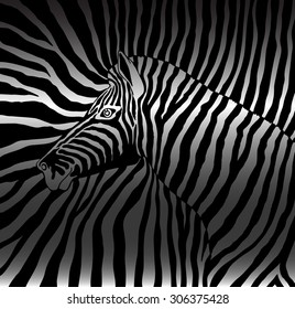 Abstract vector image of the profile of the head black and white zebra background zebra on a black and white stripes. Silhouette zebra shadow covered.cloth. wallpaper.