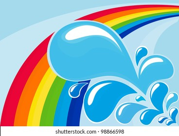 Abstract vector image with rainbow and drops of water