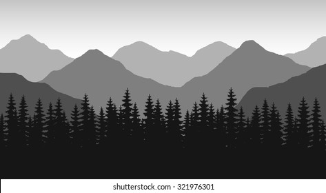 The abstract vector image reforestation in the foreground and different levels of the mountains in the background. Mountain landscape. Forest in the mountains. Untouched nature. Majestic mountains.