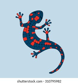 Abstract vector image of a salamander, lizard in red and blue colors.