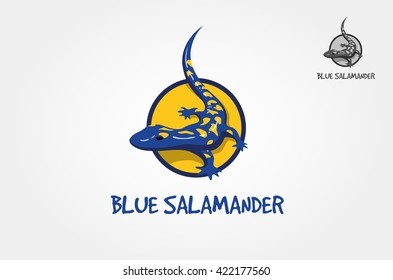 Abstract vector image of a salamander, lizard in yellow and blue colors