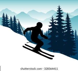 Abstract vector image silhouette of a man on skis with ski poles in his hands against a backdrop of mountains and forests. Descent on the ski slopes.