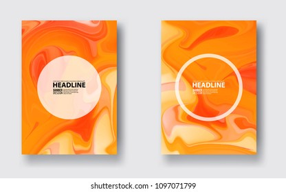 Abstract vector ink background. Marble style. Orange, white ink in water