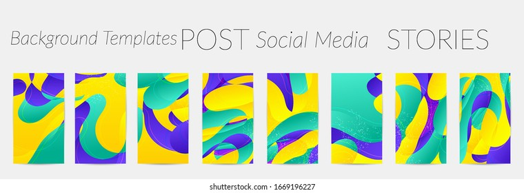 Abstract vector Instagram stories background set with bright gradient wavy organic overlapping shapes grunge textured. Disco music 80's poster design. Blog post frame or border. Social media booster.