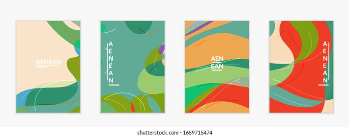 Abstract vector invitation template, art terrazzo pattern with wavy geometric abstract shapes and lines in earthy natural organic color.Minimal modern design for siasonal sale.