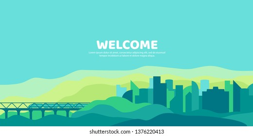 Abstract vector landscape. Background in a flat style