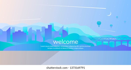 Abstract vector landscape. City by the water in a flat futuristic style with transport links. Train on the bridge between the slopes with gradient fill.
