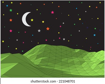 Abstract vector landscape with crescent and colorful stars