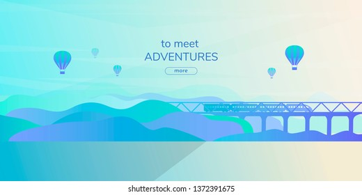 Abstract vector landscape in a flat futuristic style with transport. Train on the bridge between the slopes with gradient fill.