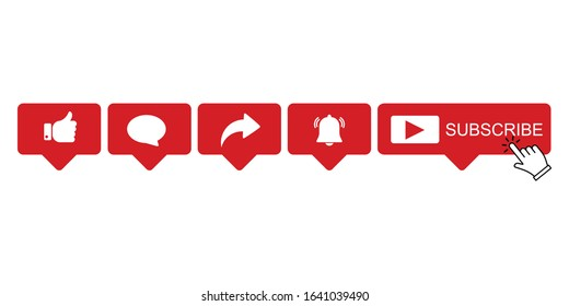 Abstract vector like comment share and subscribe icon set, vector Illustration