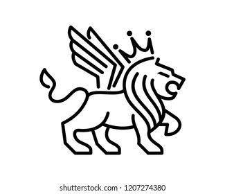 Abstract Vector Line Art Animal King of the Jungle Lion with Wings and Crown Sign Symbol Icon Logo Template Design Inspiration