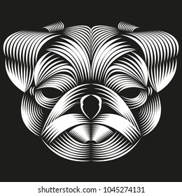 Abstract vector line art of a pug head isolated on a black background. Pug logo art