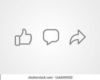 Abstract vector line icons design. Like, comment and share icon set. Social network signs.