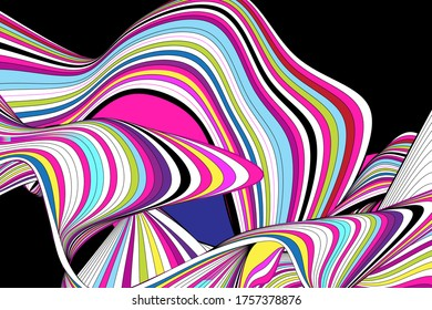 Abstract vector linear waves on a dark background. Design for a poster
