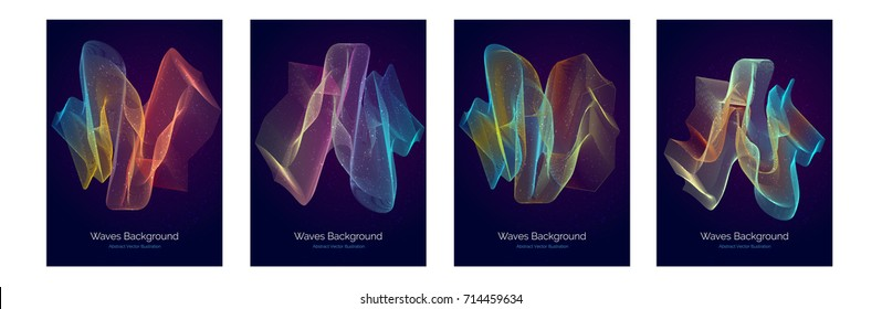 Abstract vector lines in motion. Vector waves poster illustration with bright color gradients. Colored shapes for music and dance covers. Night electronic bright lights cover.