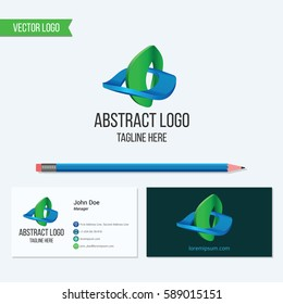 Abstract vector logo and business card template