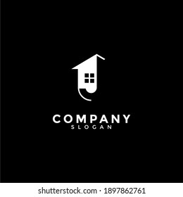 Abstract vector logo combines house and the letter J.