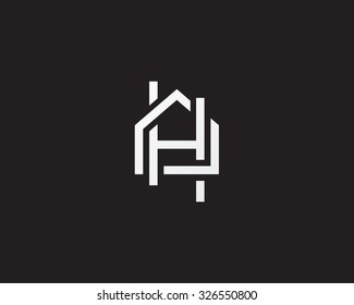Abstract vector logo combines house and the letter H.