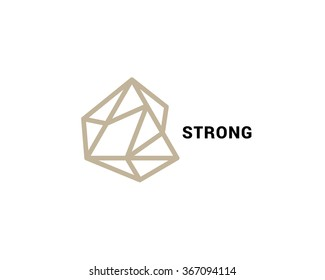 Abstract vector logo in a contemporary style. Stone, geometric shapes, thin line.