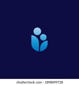 abstract vector logo design with parenting simbol of mom and child unite with one shape.