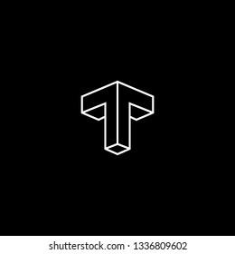Abstract Vector Logo Design Template. Creative initial 3d T TT Concept Icon.
