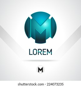 Abstract Vector Logo Design Template. Creative Blue Concept Icon. Combination of Letter M