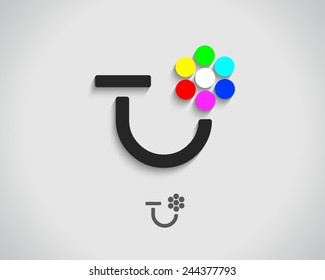 Abstract Vector Logo Design Template. Creative Concept Icon. Combination of Letter T or U