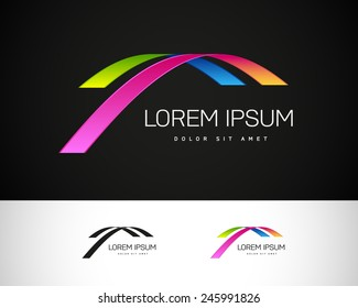 Abstract Vector Logo Design Template. Creative Colorful Wavy Concept Icon