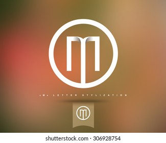 Abstract Vector Logo Design Template. Creative Concept Round Icon. Letter M Stylization