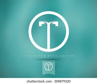 Abstract Vector Logo Design Template. Creative Concept Round Icon. Letter T Stylization