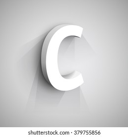 Abstract Vector Logo Design Template. Creative 3d Concept Icon. Letter C Stylization