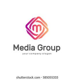Abstract vector logo design template. Media Group. Multimedia logo.