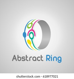 Abstract vector logo ring design elements. Network isolated logotype on white background