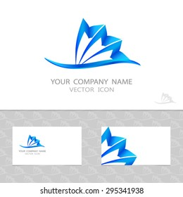 Abstract vector logo set, business cards. Blue stylized wave and shell. Seamless pattern with waves.