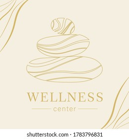 Abstract vector logo of stones. Icon wellness and spa. Creative minimalist hand painted illustration for wellness, spa, Thai massage. Design template logo with symbol natural stones.