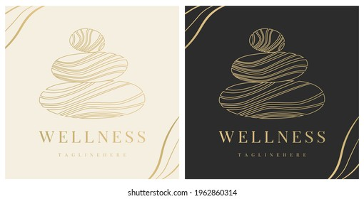 Abstract vector logo of stones sign. Icon wellness and spa. Creative minimalist hand painted illustration for wellness, spa, Thai massage. Design template logo with symbol natural stones.
