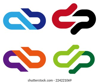 """Abstract vector logo template. """"a"""", """"b"""", """"p"""", """"q"""", """"b"""" letters icon set. You can use in the commerce, traffic, financial, construction and communication concept of pattern."""
