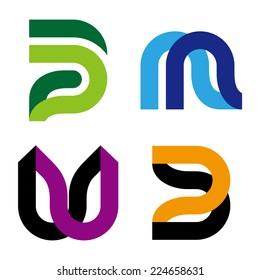 """Abstract vector logo template. """"m"""", """"w"""", """"p"""", """"u"""", """"n"""", """"B"""" letters icon set. You can use in the commerce, traffic, financial, construction and communication concept of pattern."""