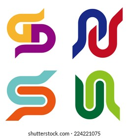"Abstract vector logo template. ""s"", ""g"", ""d"", ""b"", ""u"", ""n"", ""p"" letters icon set. You can use in the commerce, traffic, financial, construction and communication concept of pattern."