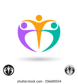 Abstract vector logo template. Three motivated people holding hands in a circle.