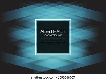 Abstract vector luxury blue line light woven on black with square banner white frame  template design modern background illustration.