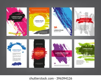Abstract vector magazine, flyer, brochure, cover layout design template, sketch ink splashes, vector print grunge scribble collection